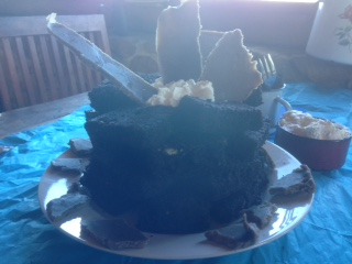 Gluten Free Brownie birthday cake with homemade 'Choc' shards